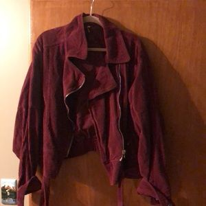 Free People Maroon Corduroy Moto Jacket